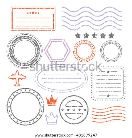 Document And Blank Grunge Style Stamps Set