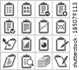 document and report icons set - stock