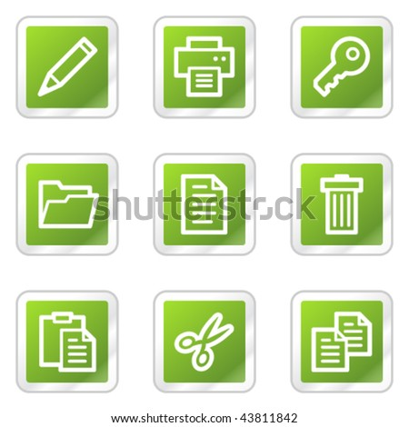 Document web icons set 1, green square sticker series