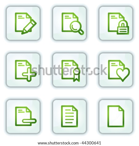 Document web icons set 2, white square buttons series
