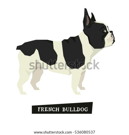 Dog collection French Bulldog Geometric style set
