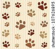 Dog's footprints seamless pattern - stock vector