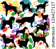 Dogs and dog footprints silhouettes colorful illustration collection background vector - stock vector