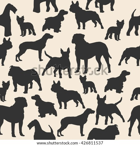 Dogs silhouette colorful seamless pattern. Airedale, french bulldog, cocker spaniel, bull mastiff, english bulldog, yorkshire terrier, bull terrier