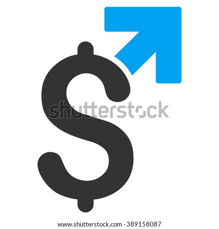 Dollar Growth vector icon. Style is bicolor flat symbol, blue and gray colors, white background.