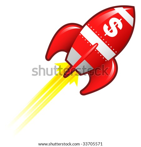 Dollar sign currency symbol on red retro rocket ship illustration good for use as a button, in print materials, or in advertisements.