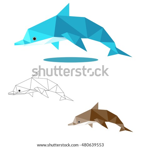 dolphin illustration graphic art in low polygon vector, geometric illustration, origami art