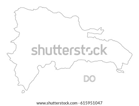 Dominican Republic Map Grey Stock Vector Shutterstock - Dominican republic map vector