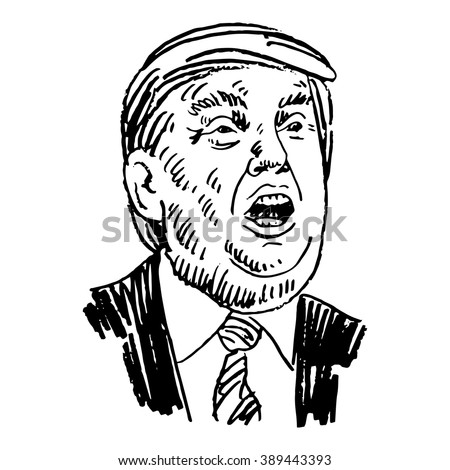 Donald Trump, republican presidential candidate. New York, USA, September 3, 2015. Sketch by hand. Vector illustration