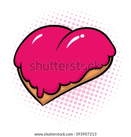 donut in form of heart with pink glaze - vector illustration