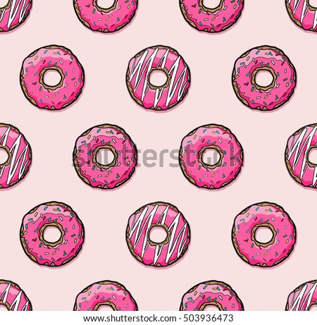 Donut seamless vector pattern