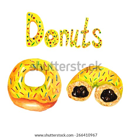 Donuts on a white background. Watercolor vector illustration