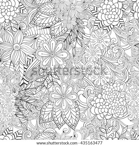 Coloring Book Artist Job : Vector abstract handdrawn pattern waves texture stock