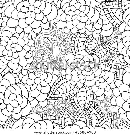 Coloring Book Artist Job : Vector abstract handdrawn flowers texture background stock