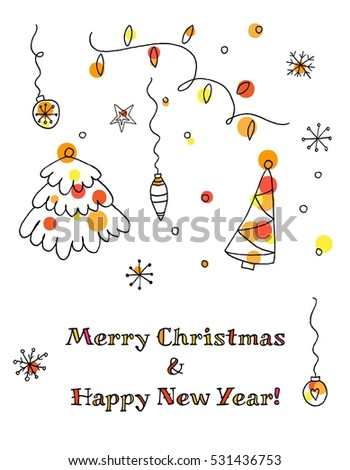 Doodle Christmas elements. Hand drawn set. Patterns collection.