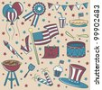 Doodle color objects on the independence day theme vintage style - stock vector