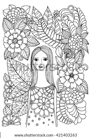 Doodle floral art. Black and white doodle. Page for coloring. Fairy from magical forest