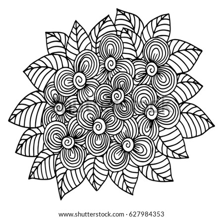 Vector Doodle Floral Illustrated Bouquet Flowers Stock