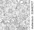 Doodle flowers seamless pattern. Zentangle herbal black and white background. - stock vector
