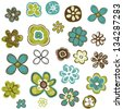 doodle flowers set, vector illustration - stock vector