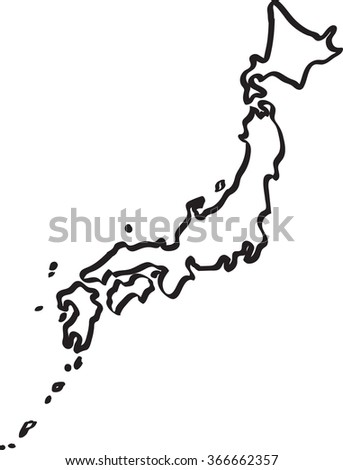 Doodle Freehand Outline Sketch Japan Map Stock Vector - Japan map sketch