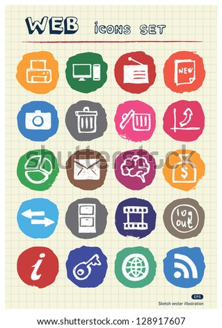 Doodle Internet and finance icons set drawn by chalk. Hand drawn vector elements pack isolated on paper