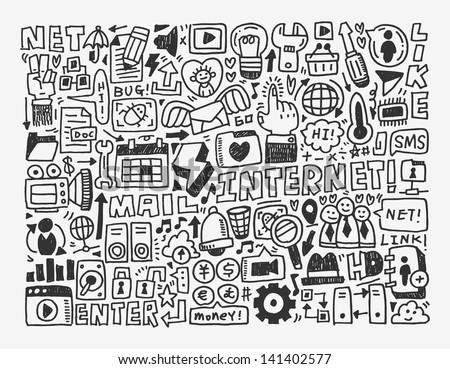 doodle network element,cartoon vector illustration