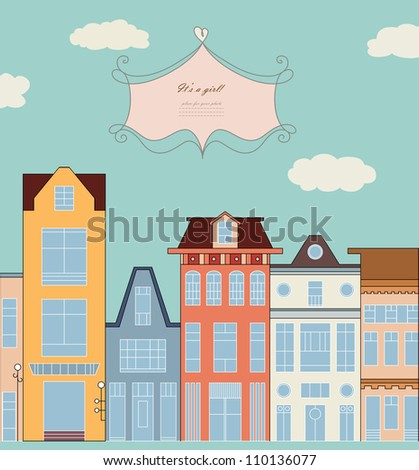 Doodle picture of traditional townhouse on the street for baby card, copybook, frame, gift, children banner, border, print, texture, home book, old style hand drawn vector eps 8