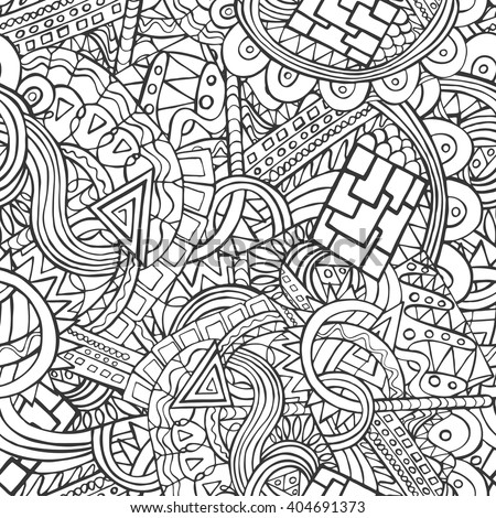 doodle seamless pattern with the random shapes and lines on white pattern can be used