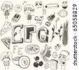 doodle set - E, F, G, H - stock vector