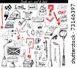 doodle set - mail & light - stock vector