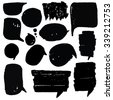 Doodle set of speech bubble. It contains thirteen speech bubbles of different shapes and sizes. Speech bubbles black and white background. - stock vector