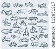 Doodle set of various vehicles, transport - stock vector