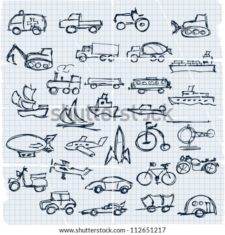 Doodle set of various vehicles, transport