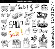 Doodle set - shop - stock photo