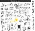 Doodle set : travel - stock vector