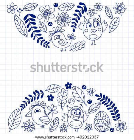Coloring Page Puppy Cat Sparrow Bird Stock Vector