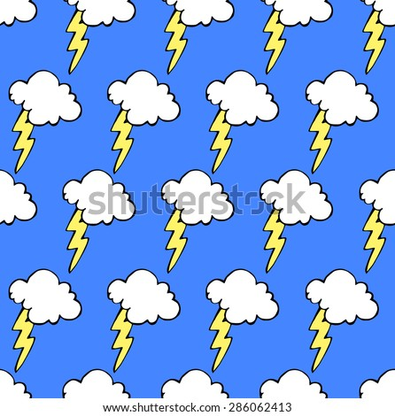 Doodle sketch of clouds and lightning. Seamless vector texture