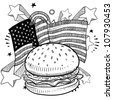 Doodle style American flag with hamburger and condiments sketch in vector format - stock vector