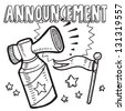 Doodle style announcement icon in vector format.  Sketch includes text, air horn, and flag. - stock vector