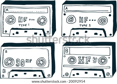 Doodle-style audio tapes, in easily editable vectors.