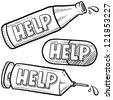 Doodle style bottle, syringe, and pill illustration with Help text message on each object.  Vector format. - stock vector