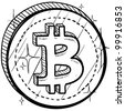 Doodle style coin with currency symbol - Bitcoin - stock vector