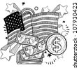 Doodle style coins and dollar bills with American flag sketch in vector format - stock photo