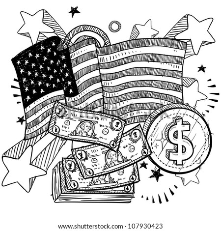 Doodle style coins and dollar bills with American flag sketch in vector format