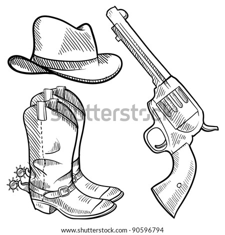doodle style cowboy objects illustration in vector format including gun hat and boots