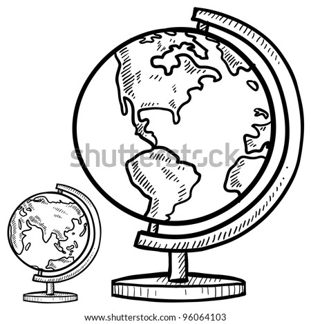 Doodle style globe illustration in vector format