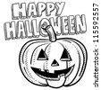 Doodle style Happy Halloween jack-o-lantern illustration in vector format. - stock photo