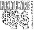 Doodle style health care costs decreasing illustration in vector format.  Includes text, dollar signs, and down arrows. - stock photo