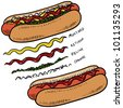 Doodle style hot dog with bun and condiments sketch in vector format - stock vector